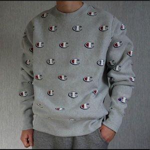 Champion Reverse Weave All Over Logo Sweatshirt M